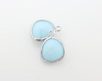 G001017P/Sky Blue Opal/Gold plated over brass/Asymmetrical framed glass pendant/13mm x 15.8mm/2pcs
