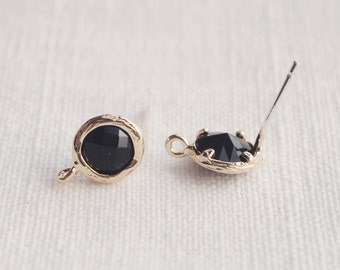 E000103/Jet/Faceted Glass +Gold Plated Over Brass Frame+Sterling Silver Post/Faceted Glass Earrings/7.6x 10.4mm/2pcs