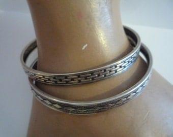 Vintage Antique Sterling Silver Bangle Bracelet Detailed Design  x2 Beautiful