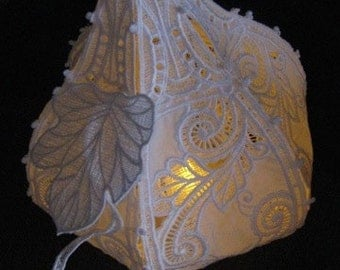 Delicate White Lace Pumpkin - Great with a battery operated tea light