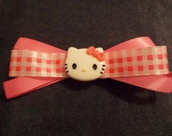 HELLO  Kitty hair accessory, Hello  Kitty  hair clip, Pink hair bow, Red hair clips, Pink hair clips