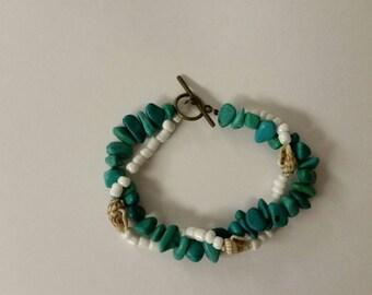 Beachy Beaded Bracelet-Twistable- Turquoise beads