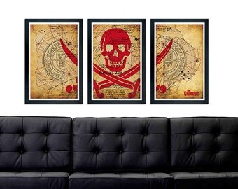 The Goonies inspired Poster Set, Mar Del Zur minimalistic poster, Vintage Map, Goonies