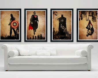 Superhero minimalistic poster set, Batman, Superman, Spiderman, Captain America, Minimalistic Poster Series