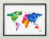 Colorful World map watercolor map canvas painting seven continents with color map wall art office world map art gift new house decor P100