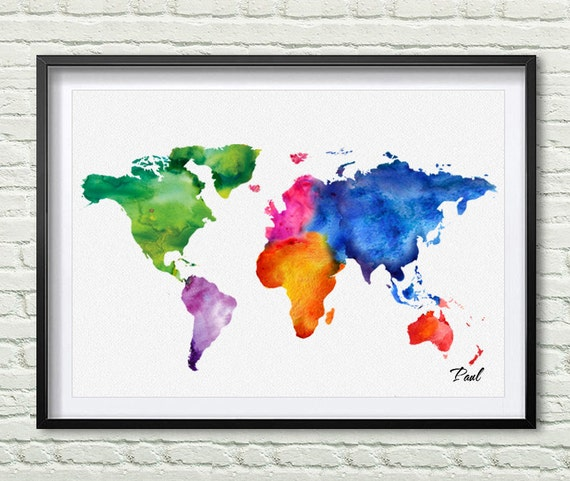 Colorful World Map Watercolor Map Canvas Painting Seven - Colorful world map