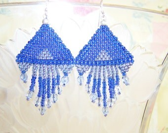 Blue Beadwork Earrings