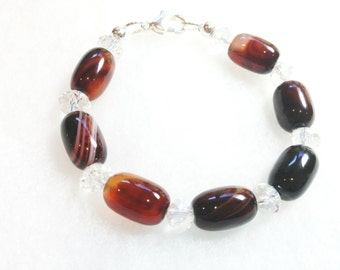 SALE - Bracelet Beaded Agate Stones Brown