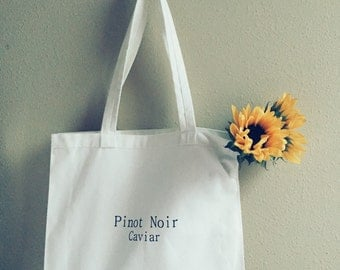 Pinot Noir Caviar Canvas Tote Bag