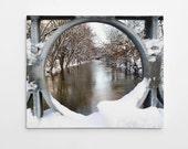 East Lansing, Michigan Photograph - Red Cedar River - Michigan Art - Canvas Print - Wall Art Decor - Winter Art  // On the Banks