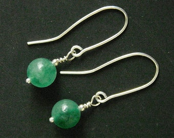 Earrings Handmade Sterling Silver and Emerald