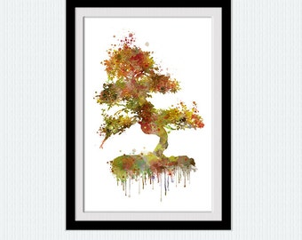 Autumn tree watercolor print Autumn tree poster Tree print art Home decor Kids room art Wall hanging decor Christmas gift Nursery art  W278