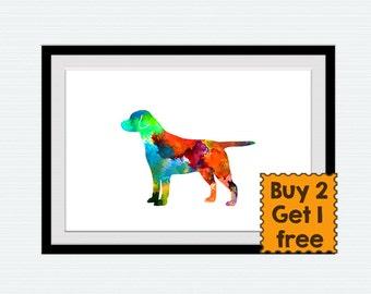 Dog watercolor poster, labrador colorful print, dog lovers gift, home decoation, nursery room art, wall hanging illustration, animal art,W31