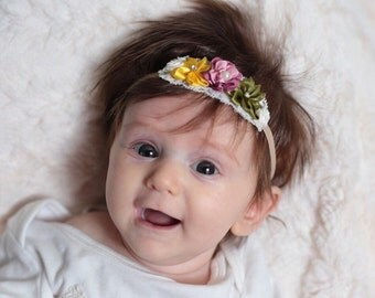 Fall baby headband- olive ivory pink yellow baby headband-fall newborn baby headband-fall infant headband-fall hair bow-small baby headband