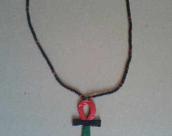 Red black and green RBG ankh necklace