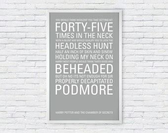 Harry Potter and the Chamber of Secrets Poster Print Quote - Nearly Headless Nick - The Headless Hunt