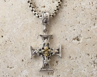 Gothic Gold Diamond Sterling Silver Cross