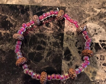Amber Pave and Fuschia Japanese Glass Beaded Stretch Bracelet