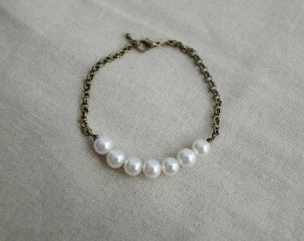 Brass Pearl Row Bracelet