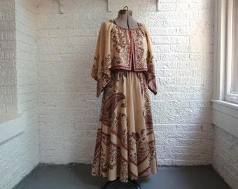 vintage 70s dalani II lord & taylor floral print peasant dress