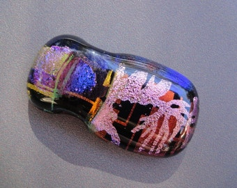 Fused Dichroic Art Glass Slider focal Bead Pendant By Victoria