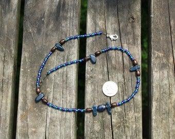 Midnight Blue Jasper with Wood & Aquamarine Beaded necklace
