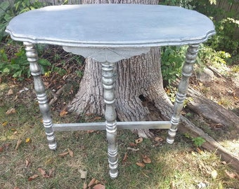Shabby Side Table - Vintage Shabby Chic Table Scalloped Edge- Demi Lune - Cottage Style - Silver Table - Gray Table - Distressed Table