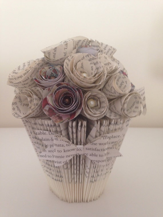 Items Similar To Handmade Folded Book Art Bucket Vase And Selection Of Paper Flowers On Etsy