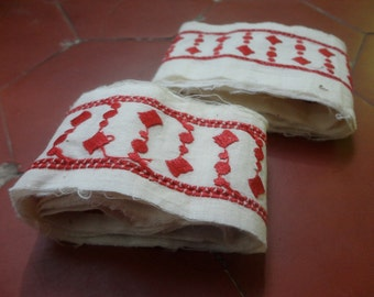 Vintage Braid, Cotton Strips, Decorative Textiles, Red & White, Embroidered Textile