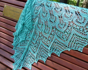 Turquoise Silk Lace Shawl. Knitted Shawl. Hand Knitting. Knit shawl. Hand knit shawl. Boho shawl. Knitting shawl. Lace wrap. Wedding shawl