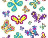 Paisly Butterfly Clip Art, digital graphics, vector graphics, vibrant colors, digital art, scrapbooking, butterfly, clipart