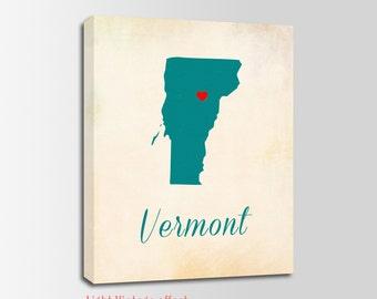 Vermont Canvas Print, Vermont Vintage Print, Vermont Map, Personalized Art, Wall Decor, Vintage Map, Nursery Art, USA