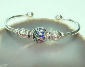 Rose bangle 925 sterling with enamel