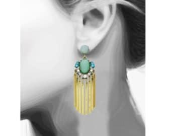 Teal Fan Earrings