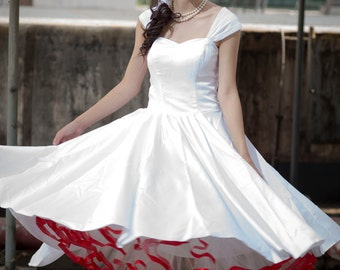 50shouse_ 50s inspired retro Lace back tea wedding dress _ custom make