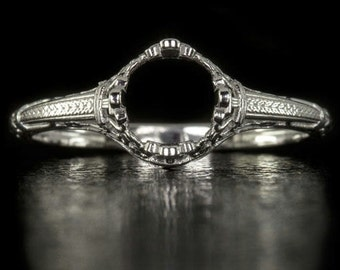 Vintage Antique Art Nouveau Engagement Ring Setting 14K White Gold Filigree Engraved Round Cushion Solitaire 1ct. 4356