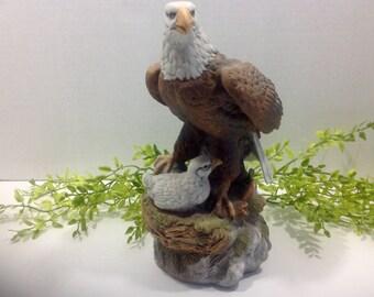 Bald Eagle Ceramic Figurine with nest