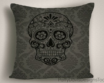 Day of the Dead Halloween Pillow Cover, Halloween Throw Pillow, Halloween Decor, Designer Halloween Pillow, 14 x 14, 16 x 16, 18 x 18