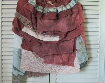 Boho Gypsy Punk Tattered M/L  Recycled Top/Skirt