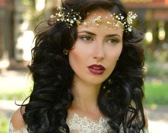 bridal Crown, bridal tiara, wedding crown, wedding tiara, pearl crown,Bridal HeadBand, Bridal Halo, Bridal Hair Vine,Diadem,Bridal Hairpiece