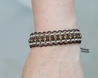 Silver rolor chain, bronze leather and amber cup chain bracelet