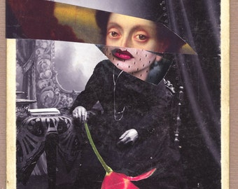 "surreal collage - paper collage - mixed media collage - "" Lady with red flower..."""