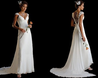 Chiffon Wedding Dress. Half price! Elegance and Comfort. Lace Up in the Back. Sale.