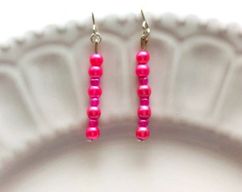 Long pink earrings, Hot pink earrings, Delicate earrings, Dainty jewelry