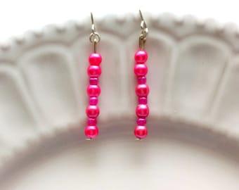 Long pink earrings, Hot pink earrings, Delicate earrings, Dainty jewelry