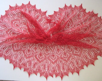 Handmade knitted lace beaded shawl. MADE TO ORDER