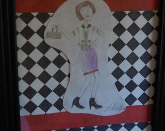 Original Art, Checkerboard Art, Original Drawing