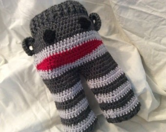 Crocheted monkey pants, crocheted sock monkey, crocheted baby pants, monkeys, baby monkey, baby pants