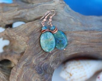 Ruby in Fuchsite earrings; OOAK apatitie earrings