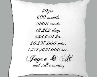 50th Anniversary or 25th Anniversary  countdown  Personalized on a White Pillow cover, also available in other colors choices